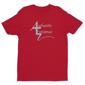 Authentic Existence® Signature Short Sleeve Relaxed Fit T-Shirt - Red with Silver Glitter Logo - Authentic Existence®