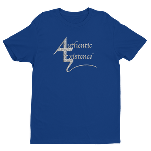 Authentic Existence® Signature Short Sleeve Relaxed Fit T-Shirt - Blue with Silver Glitter Logo - Authentic Existence®