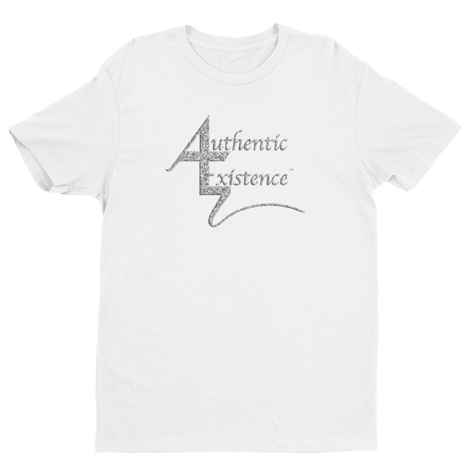 Authentic Existence® Signature Short Sleeve Relaxed Fit T-Shirt - White with Silver Glitter Logo - Authentic Existence®