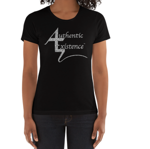 Authentic Existence® Signature Short Sleeve Ladies Fit T-Shirt - Black with Silver Glitter Logo - Authentic Existence®