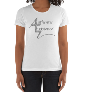 Authentic Existence® Signature Short Sleeve Ladies Fit T-Shirt - White with Silver Glitter Logo - Authentic Existence®