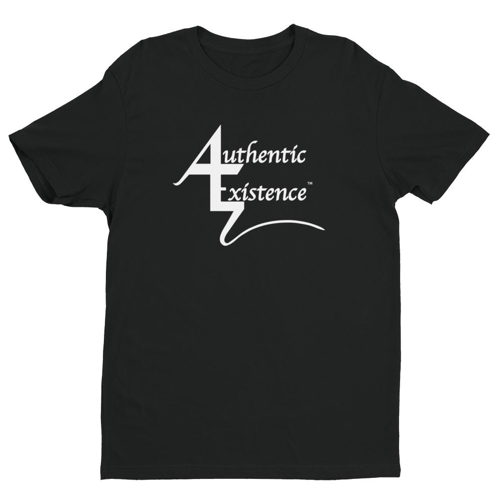 Authentic Existence® Signature Short Sleeve Relaxed Fit T-Shirt - Black with White Logo - Authentic Existence®