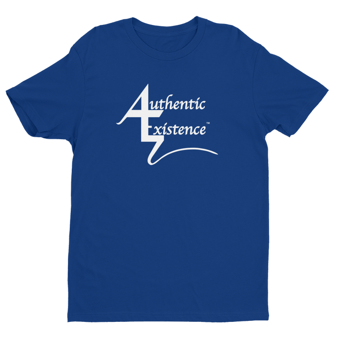 Authentic Existence® Signature Short Sleeve Relaxed Fit T-Shirt - Blue with White Logo - Authentic Existence®