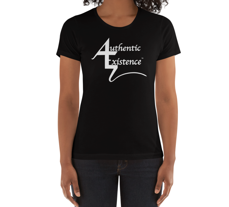 Authentic Existence® Signature Short Sleeve Ladies Fit T-Shirt - Black with White Logo - Authentic Existence®