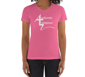 Authentic Existence® Signature Short Sleeve Ladies Fit T-Shirt - Pink with White Logo - Authentic Existence®