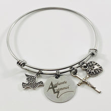 Load image into Gallery viewer, Authentic Existence® Signature Peace & Love Stainless Steel Adjustable Bangle Charm Bracelet - Authentic Existence®