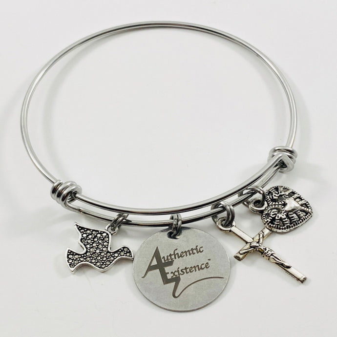 Authentic Existence® Signature Peace & Love Stainless Steel Adjustable Bangle Charm Bracelet - Authentic Existence®