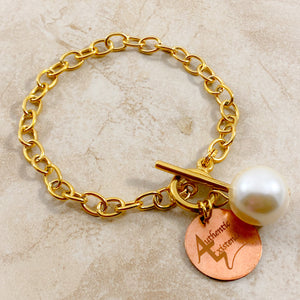 Authentic Existence® Signature White Pearl Full Moon Gold Finish Stainless Steel Chain Bracelet