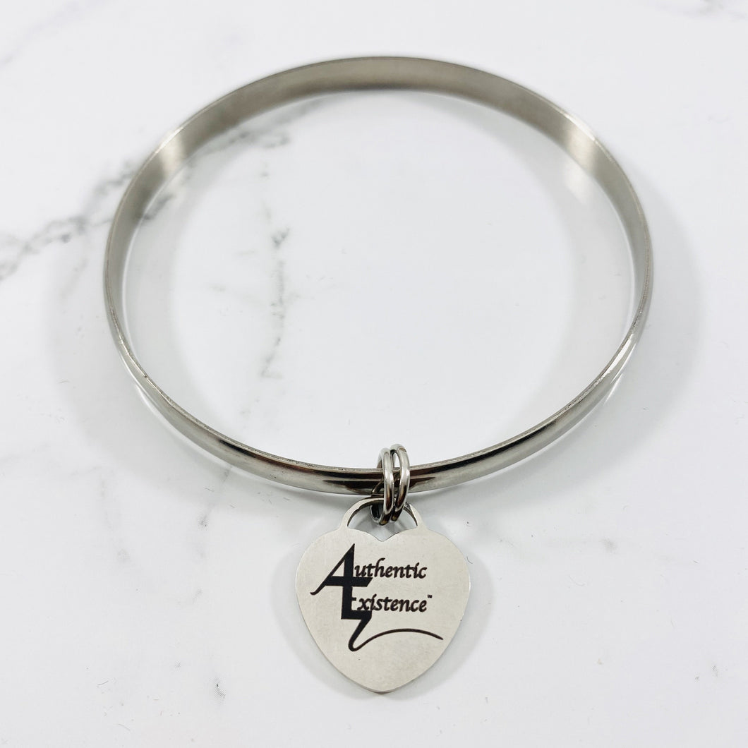 Authentic Existence® Signature Stainless Steel Bangle Love Charm Bracelet