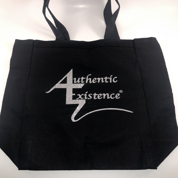 Authentic Existence® Signature Silver Glitter Logo Black Tote Bag - Authentic Existence®