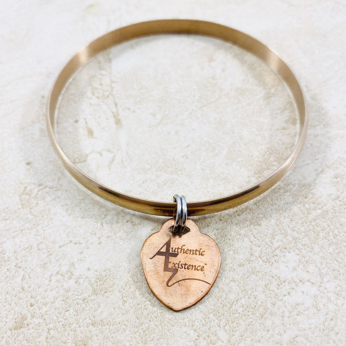 Authentic Existence® Signature Stainless Steel Rose Gold Finish Bangle Love Charm Bracelet