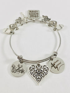 Authentic Existence® Christ the Savior Stainless Steel Adjustable Bangle Charm Bracelet - Authentic Existence®