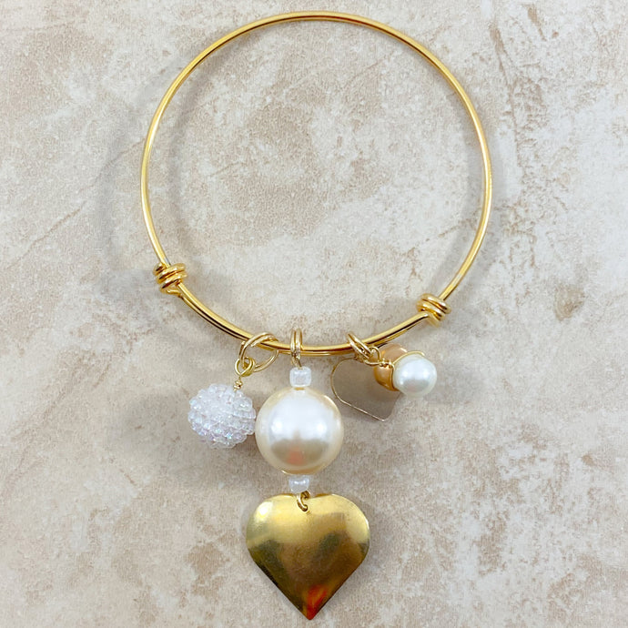 Authentic Existence® Pearls and Hearts Gold Finish Stainless Steel Adjustable Bangle Bracelet