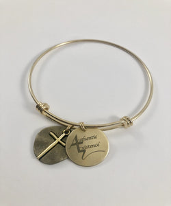 Authentic Existence™ Cross Charm Bracelet; Stainless Steel; Gold Finish; Adjustable Bangle.