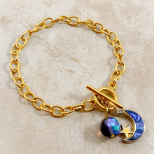 Load image into Gallery viewer, Authentic Existence® Moon Phases Gold Finish Stainless Steel Chain Bracelet - Blue, Green and Violet Embellishments