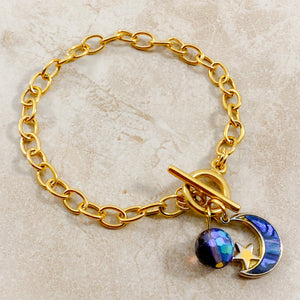 Authentic Existence® Moon Phases Gold Finish Stainless Steel Chain Bracelet - Blue, Green and Violet Embellishments