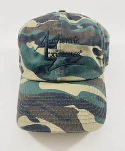Authentic Existence® Signature Unisex Adjustable Premium Cap - Camo with Black Embroidery
