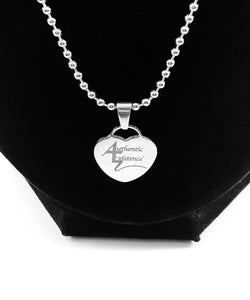 "Authentic Existence® Signature Stainless Steel 19"" Ball Chain with Heart Charm - Authentic Existence®"