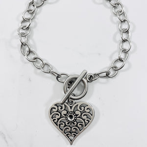 Authentic Existence® Filigree Heart Stainless Steel Chain Charm Bracelet