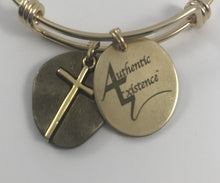 Load image into Gallery viewer, Authentic Existence® Cross Coin Stainless Steel Gold Finish Bangle Charm Bracelet - Authentic Existence®