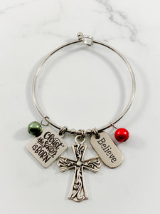 Authentic Existence® Christ the Savior is Born Stainless Steel Buckle Bangle Bracelet with Cross and Pearls