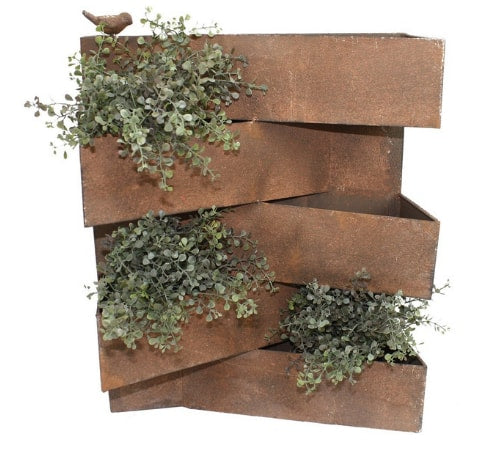 Metal Rust Brown Division Wall Planter - 5 Pot