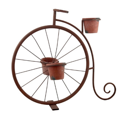 Penny Farthing Bicycle Planter Pot - Metal Rust Burgundy