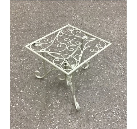 White Metal Pot Planter Stand