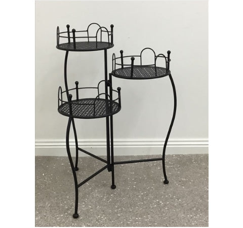 3 Tier Black Metal Planter Pot Holder