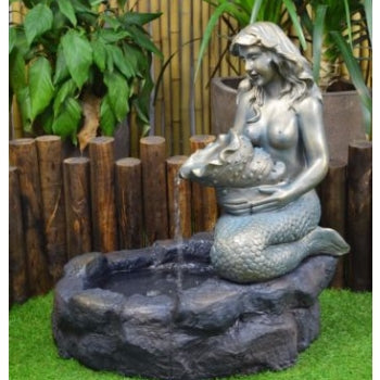 Mermaid Solar Powered Pond Water Fountain with LED Light