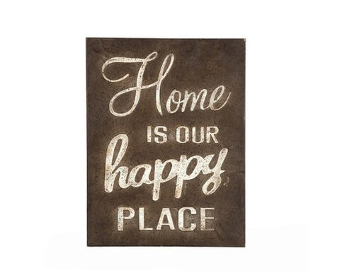 Antique Brown Home Happy Place Wall Art