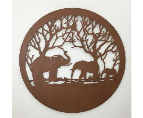 Brown Metal Elephant Round Wall Art - 98cm