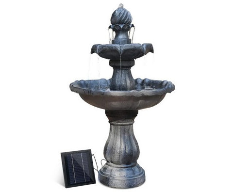 3 Tier Solar Powered Water Fountain - Black