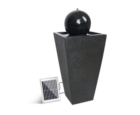 Solar Powered Water Fountain with Globe - Black