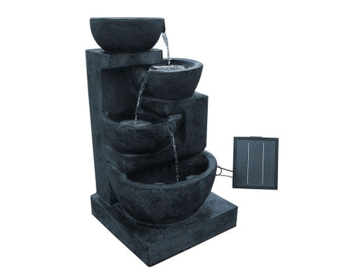 4 Tier Solar Powered Water Fountain with Light - Blue