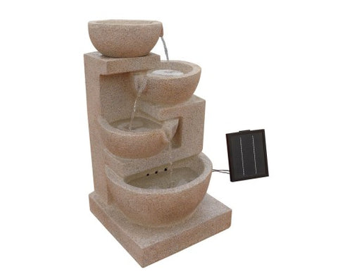 4 Tier Solar Powered Water Fountain with Light - Sand Beige