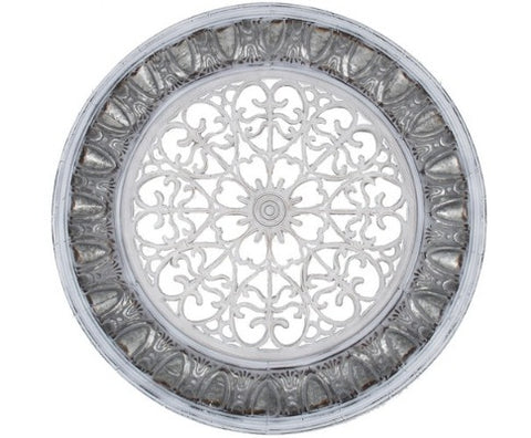 Large Galvanized White Circolo Wall Art - 115cm