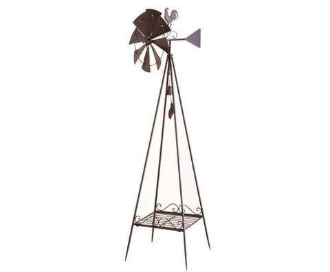 Large Metal Weather Vane with Windmill Garden Ornament - 170cm