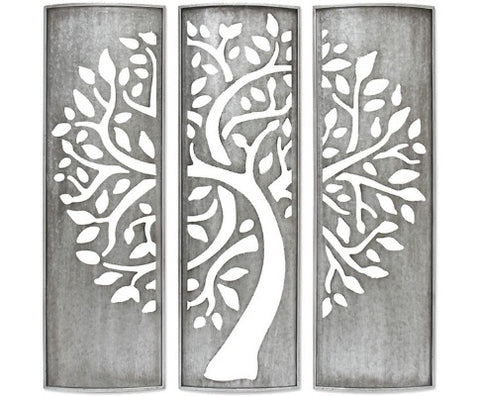 Galvanized Laser Cut Tree Triptych Wall Art - 92cm