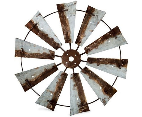 Natural Tin Farmers Windmill Wall Art - 79cm