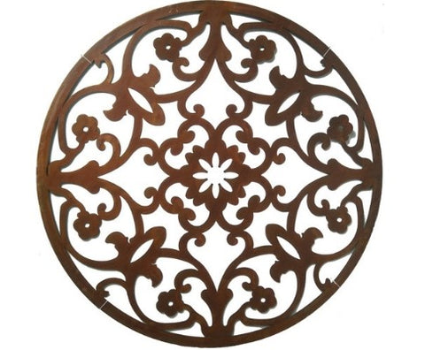 Rust Laser Cut Elegant Round Wall Art - 99cm