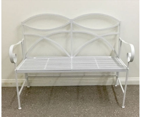 Elegant 2 Seater Outdoor Iron Bench - White