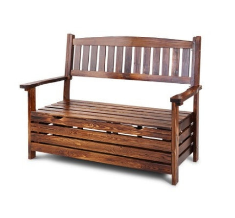 Outdoor 2 Seat Wooden Storage Box Garden Bench Chair - Charcoal - Garden Features Galore