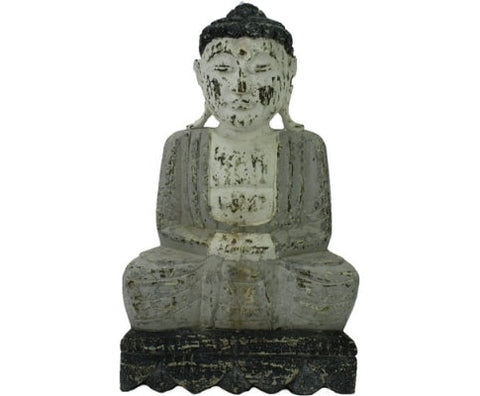 Meditating Buddha Garden Statue Ornament - Timber Grey