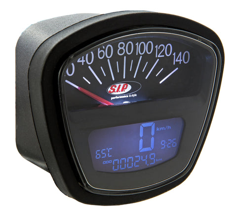 SIP Digital Speedo / Rev Counter in Black - Lambretta LI SX TV GP Series 3