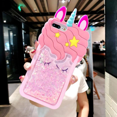 3D Glitter Cute Unicorn iPhone Case