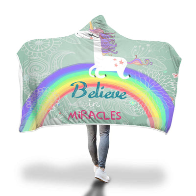 Believe in Miracles Unicorn Hooded Blanket