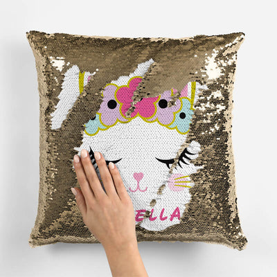 Personalized Cat Sequin Pillow (With Stuffing)