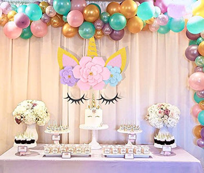Unicorn Party Supplies & Decorations Backdrop For Girls Birthday Party Baby Shower - DIY Unicorn Flower Backdrop with Glitter Giant Horn Ears Eyelashes