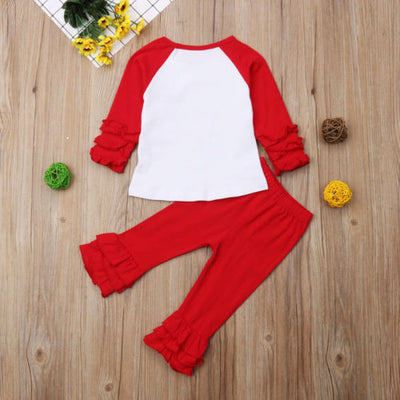 Autumn Winter Christmas Baby Girl Unicorn Red Tops Long Pants Outfits Set